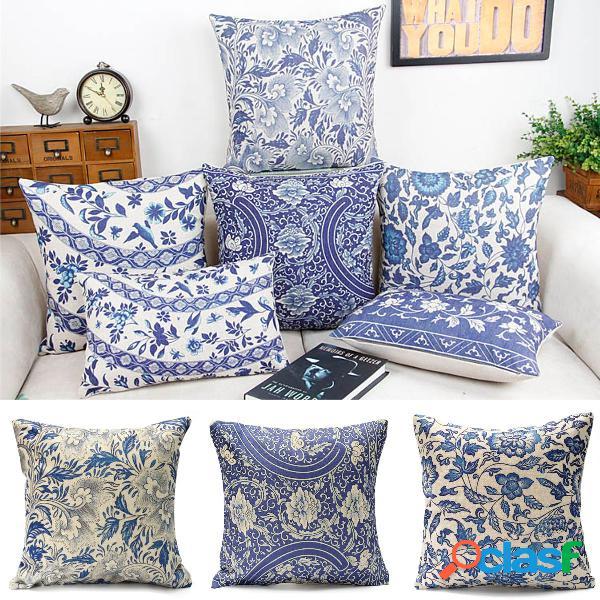 Capa de almofada oriental vintage azul floral algodão linho travesseiro caso decoração de sofá doméstico