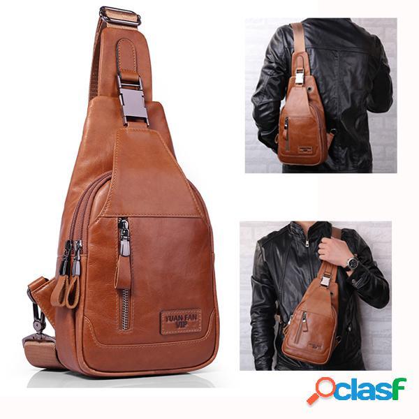 Ekphero bolsa masculina de couro requintado bolsa de ombro vintage bolsa de peito crossbody