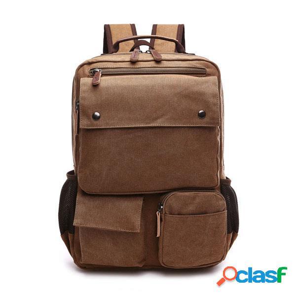 Homens multi-bolso lona casuais sacos de ombro grande capacidade mochila viagem escola sacos de desporto