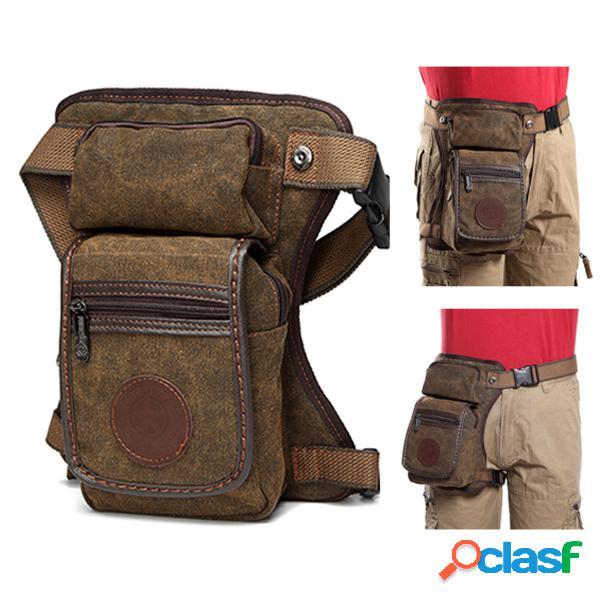 Perna de lona impermeável vintage bolsa cintura sólida casual bolsa crossbody multi bolso bolsa para homens