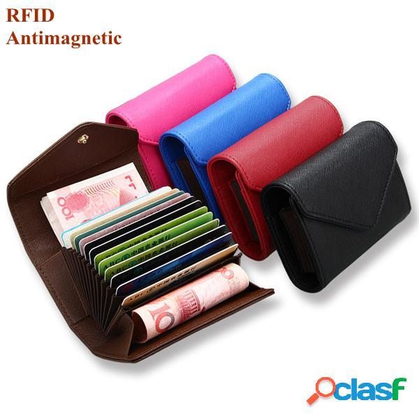 Rfid bolsa pura de moeda couro de microfibra multi ranhuras para cartão