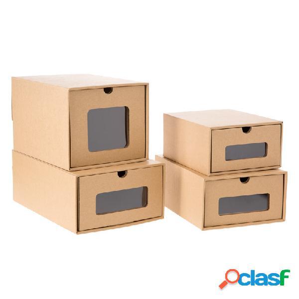 Tipo de gaveta coleção de sapatos kraft caixa móvel caixa transparente de armazenamento de caixa de sapatos