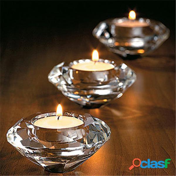 Vidro cristal chá luz candelabros candelabro stand candlestick home decor
