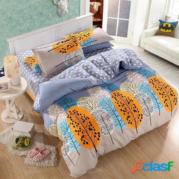 3 ou 4pcs leaves printed bedding set duvet cover sets bed incluir cama folha de travesseiro