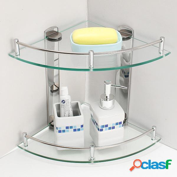 2 camadas de vidro de banho dupla camada de aço inoxidável montado na parede tripé rack de armazenamento