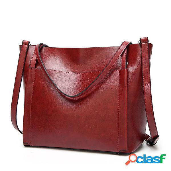 Bolsa vintage de couro bolsa retro de ombro feminina