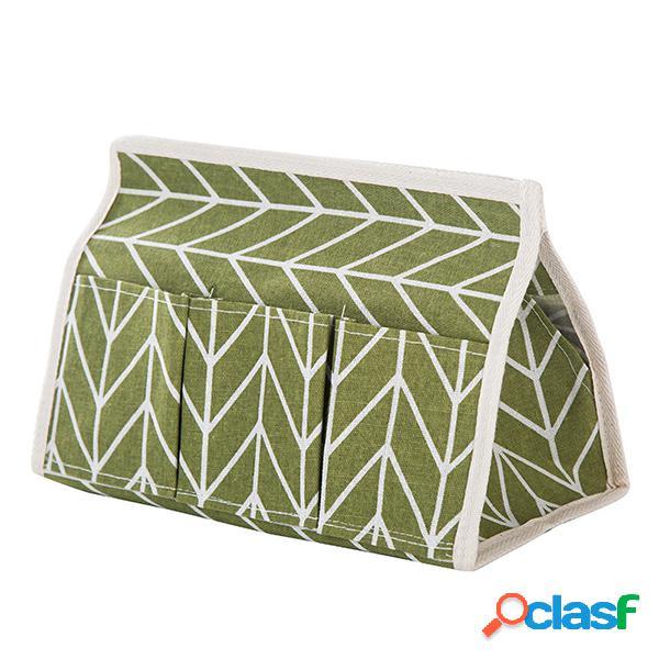 Caixa de linho de tecido de linho criativo caixa de gaveta multifuncional de seis bolsos caixa de armazenamento de mesa