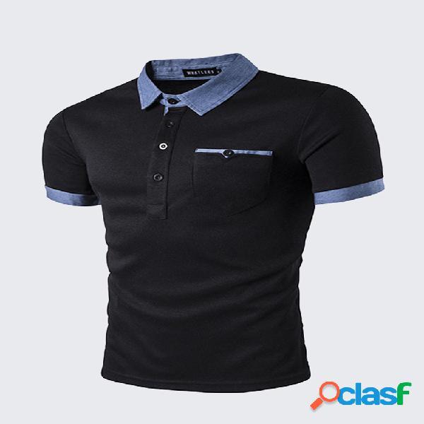 Mens moda bolso frontal golf camisa colar turndown manga curta primavera verão casual tops