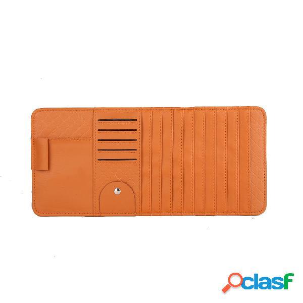 Multi-função pu leather car cd clip card bag telefone óculos de sol suporte de caneta