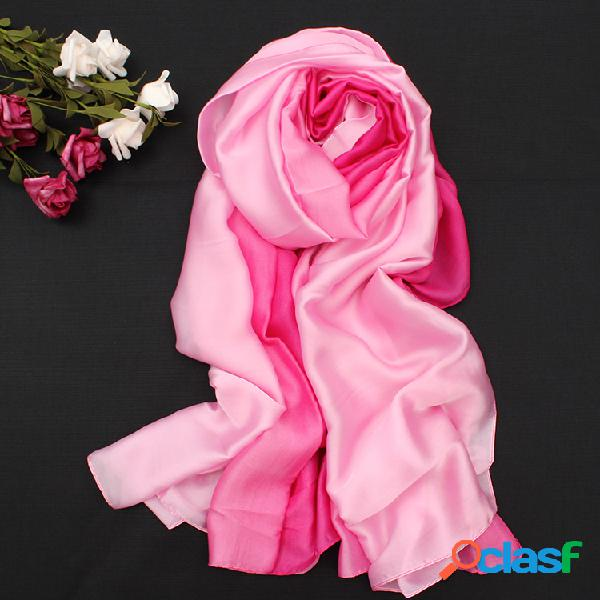 Cachecol macio confortável satin seda cor schrittweise lenço de viagem e praia para mulheres