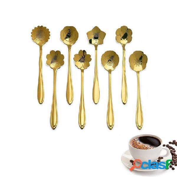 Kcasa kc-fs04 forma de flor de ouro aço inoxidável café açúcar colher teaspoons ice cream tableware