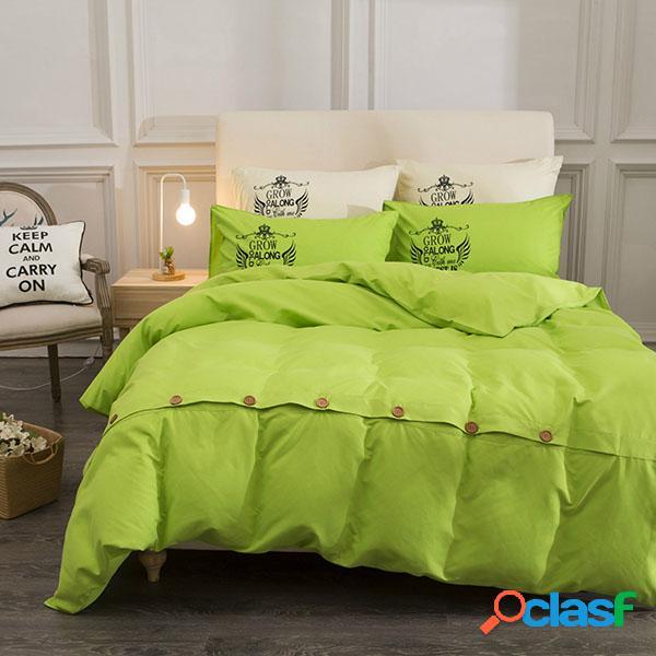 11 cores 4pcs roupa de cama algodão botão cama travesseiros twin full queen king size