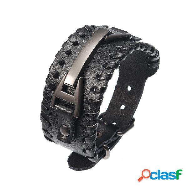 Bracelete punk masculino bracelete handmade de bracelete de couro genuíno