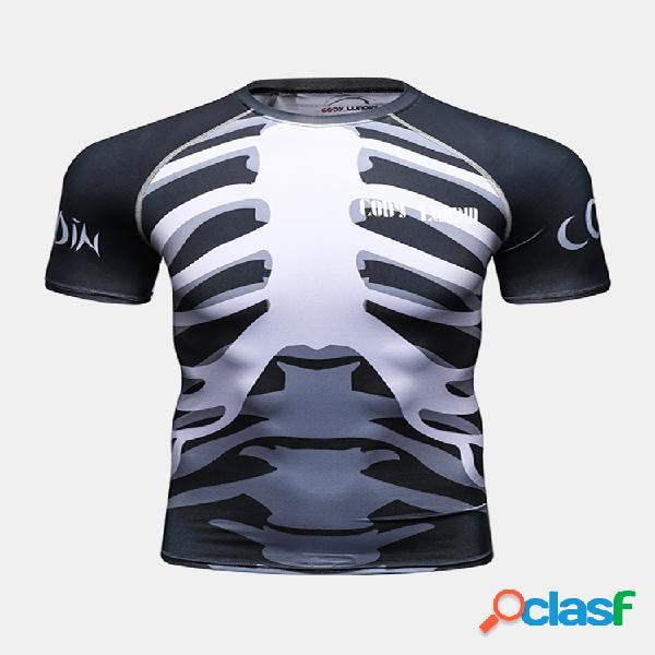 Mens verão 3d impresso secagem rápida skinny fit aptidão sport t-shirt