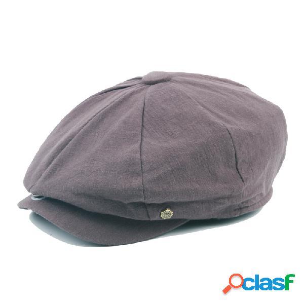 Unisex chapéus casual de algodão estilo britânico beret pintor sólidos vintage para homens