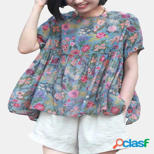 Blusa feminina com estampa floral remendada de manga curta solta