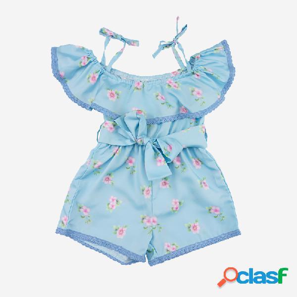 Conjunto de roupas casuais com cordões de estampa floral para menina de 1 a 7 anos