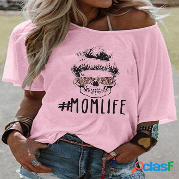 Desenhos animados imprimir off-ombro t-shirt de manga curta para as mulheres