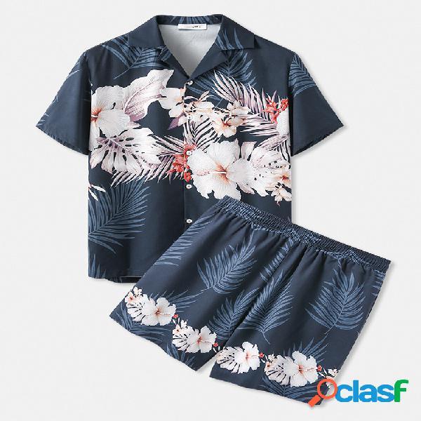 Estampa floral tropical padrão roupas para férias no havaí duas peças soltas e aconchegantes conjuntos de moda praia para homens