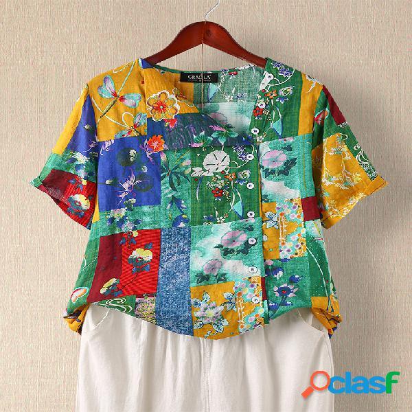 Blusa casual patchwork estampado floral manga curta assimétrica
