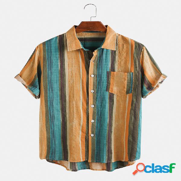 Camisas masculinas vintage oli com listras casuais de manga curta no peito