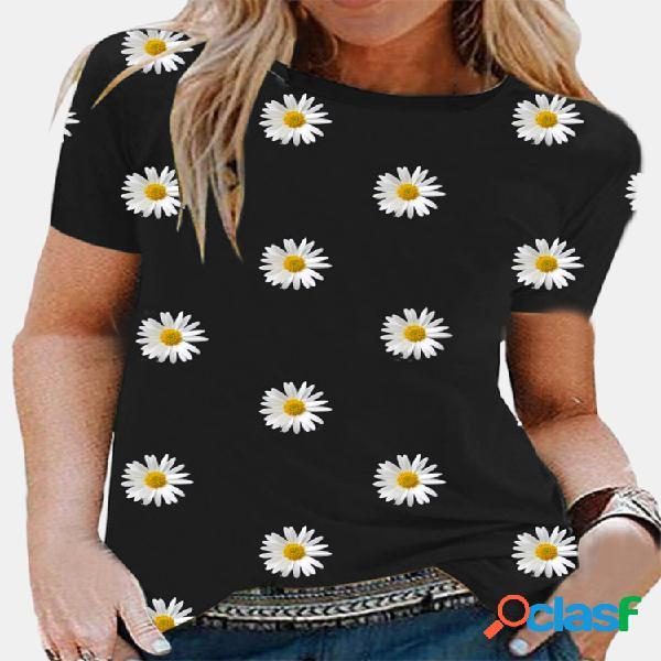 Camiseta casual de manga curta com estampa floral com decote em o para mulheres