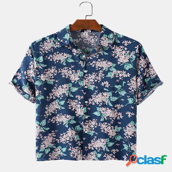 Homens algodão floral praia feriado casual camisa