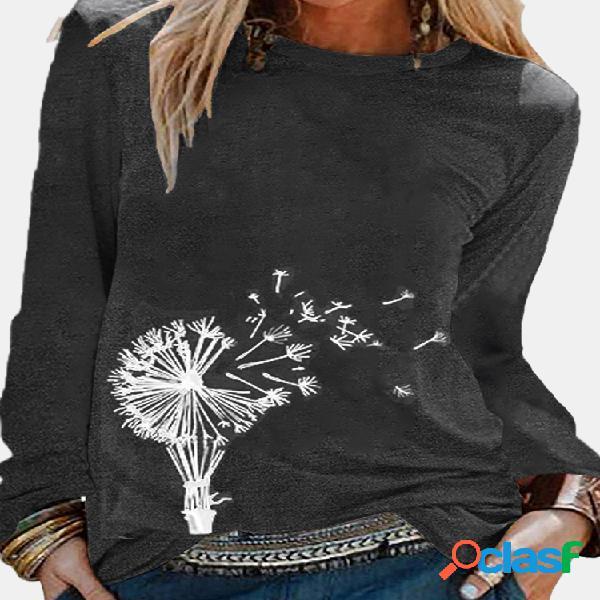 Blusa com estampa floral de manga longa com decote em o