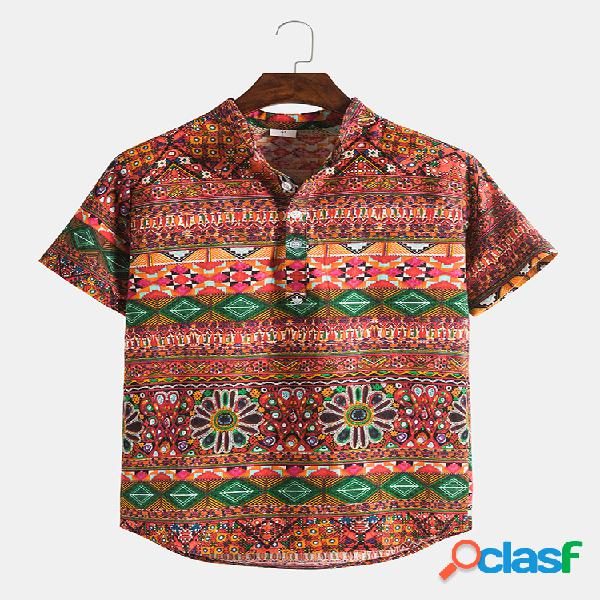 Mens étnico floral casual manga curta camisas henley
