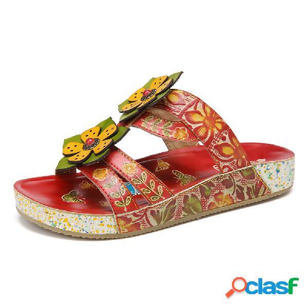 Socofy deslizamento de cinta floral de couro artesanal de bohemia em sandálias de slides planas