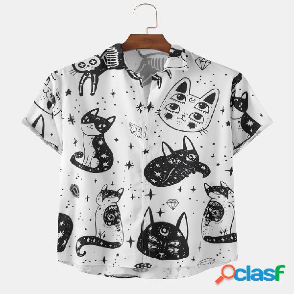 Homem engraçado abstrato gato padrão estampa camisas leves de manga curta
