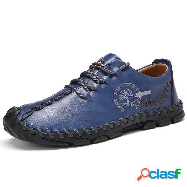 Menico calçados casuais masculinos com costura à mão de couro de vaca ao ar livre antiderrapante