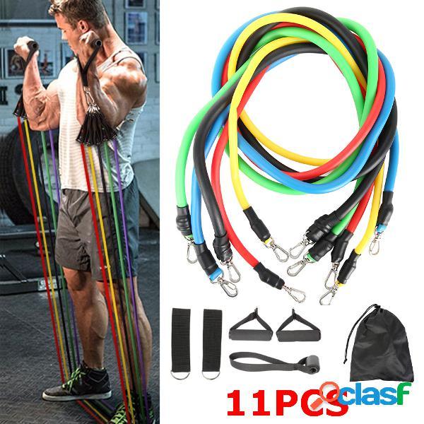 11 pçs / set aptidão bandas de resistência sport pull corda yoga band home academia ferramentas de exercício
