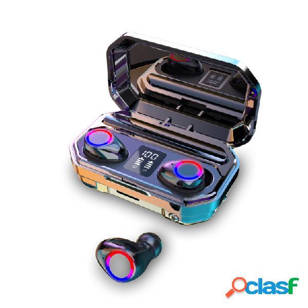 2020 9d hifi bluetooth 5.0 cvc8.0 redução de ruído estéreo sem fio tws bluetooth headset led display headset impermeável dual fones de ouvido com caixa de chagring do power bank (versão monou