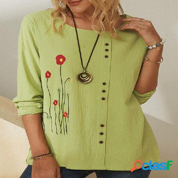 Blusa feminina de manga comprida com botões bordados flor o-pescoço