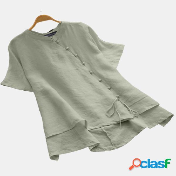 Blusa irregular do tamanho do colar plus do suporte do botão do grânulo