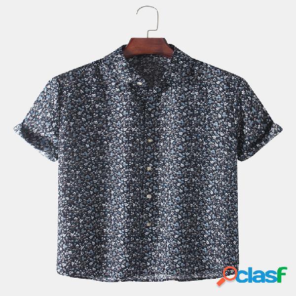 Camisas masculinas com estampa floral allover casual respirável e fina de manga curta