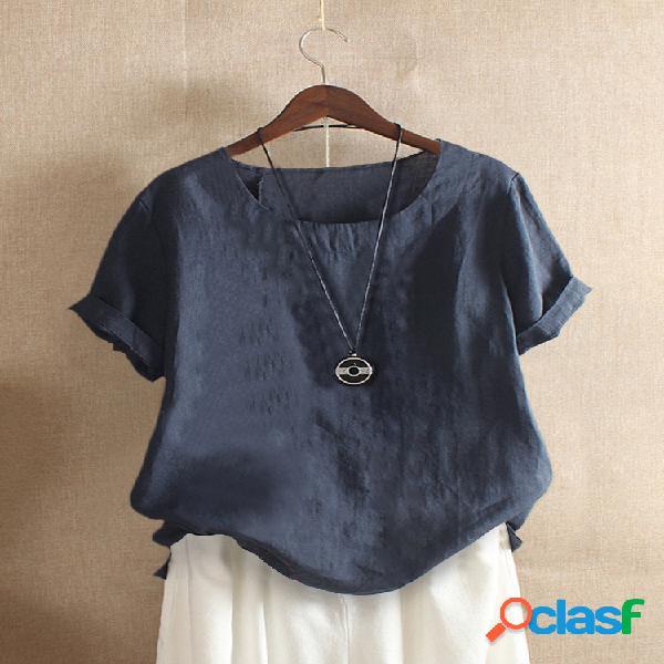 Camiseta casual de cor sólida manga curta com decote em o para mulheres