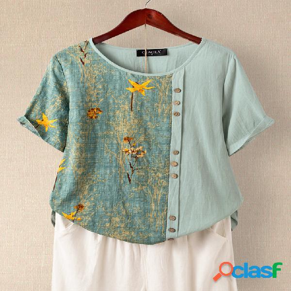 Camiseta de manga curta com estampa floral patchwork botão