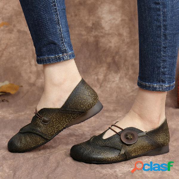 Socofy grão de pele de cobra couro genuíno círculo padrão deslize sobre soft mocassins baixos sapatos casuais