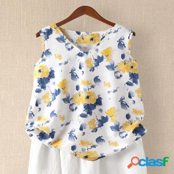 T-shirt sem mangas com estampa floral e decote em v para mulheres