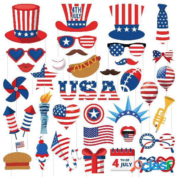 4 de julho dia da independência americana 38 peças decoração da festa em casa foto prop engraçado barba óculos de sol cola papel adereços