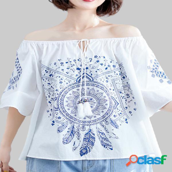 Blusa casual vintage com estampa floral de mangas curtas com decote em V