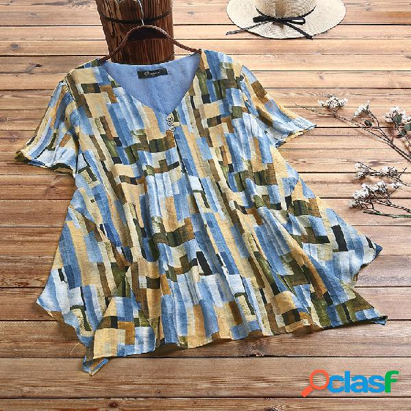 Blusa com estampa assimétrica com decote em v plus tamanho