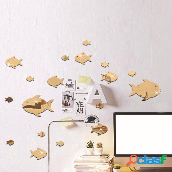 Bolha peixe adesivo de parede oceano espelho espelho adesivo autoadesivo adesivo de parede espelho acrílico adequado para quarto de criança jardim de infância