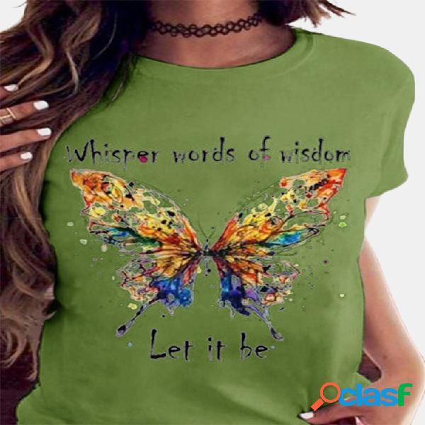 Colorful camiseta de manga curta com estampa de letras borboleta para mulheres