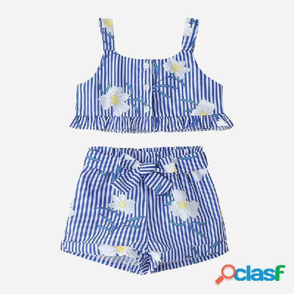 Floral impressão listrada da menina babados roupas casuais sem mangas para 2-8a