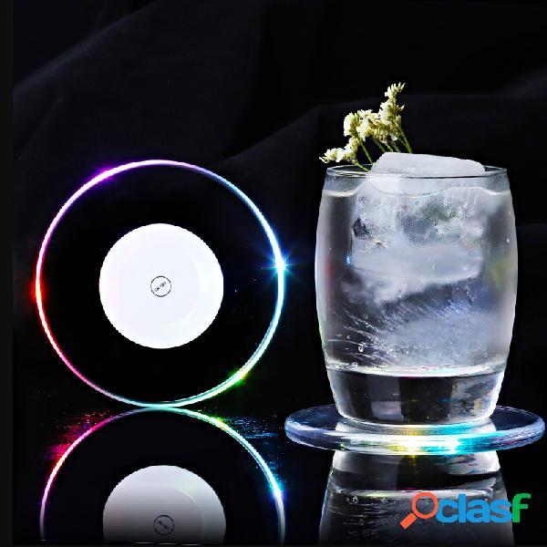 Led mudança de cor clara suporte de copo da bebida mat club party pad barware sticker decor