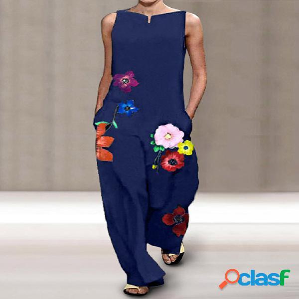 Macacão com estampa floral sem mangas plus tamanho com bolsos