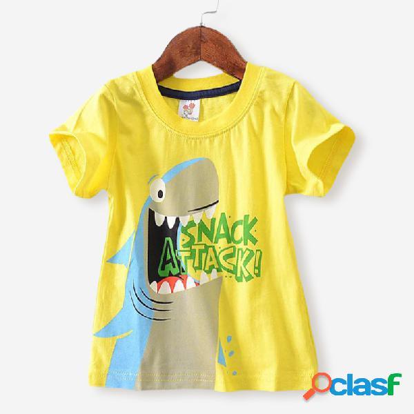 Menino dos desenhos animados do crocodilo violino impressão mangas curtas t-shirt casual para 2-8a